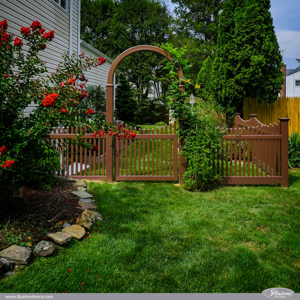 brown-pvc-vinyl-picket-illusions-fence-and-arbor